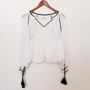 Urban Outfitters Boho Peasant Top White Black M